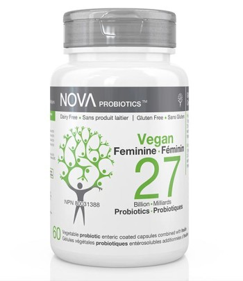 Dairy-Free Probiotic Supplements for Women. VEGAN Feminine - NOVA Probiotics. 27 Billion CFU per enteric-coated capsule.