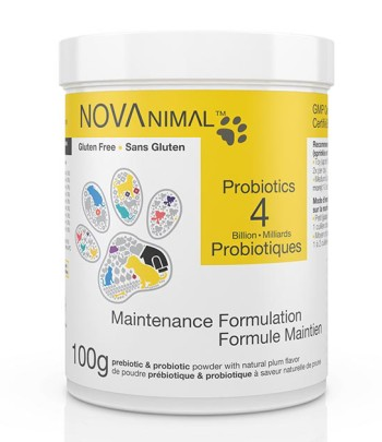Probiotics for dogs and cats in natural plum-flavored powder. 4 Billion CFU per scoop.