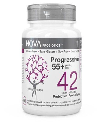 High-Quality Probiotic Supplements for Adults. Progressive 55+ years - NOVA Probiotics. Including Bifidobacteria and Lactobacilli strains.